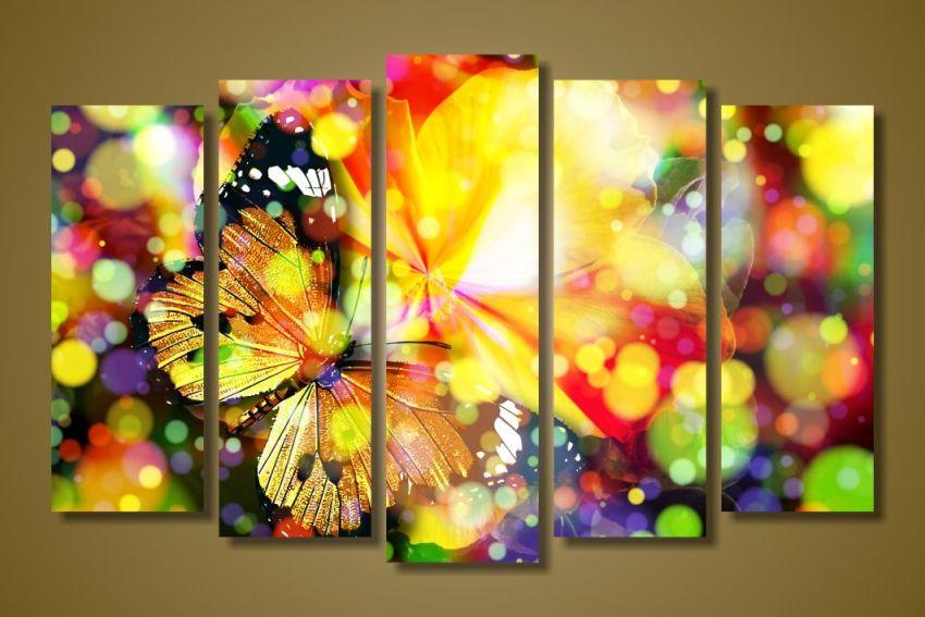Модульная картина Сияющие бабочки