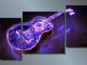 Модульная картина Неоновая гитара