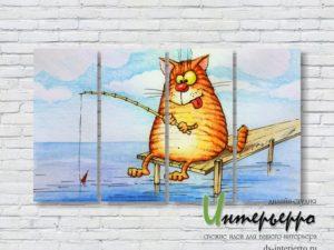 Модульная картина Кот-рыболов