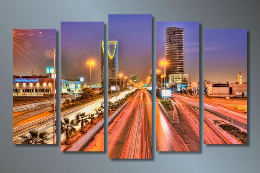 Модульная картина Вечерний мегаполис
