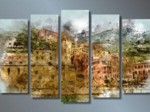 """Модульная картина Городские здания. Акварель - купить в интернет-магазине """"Интерьерро"""""""