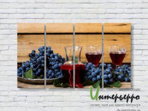 Модульная картина Вино и виноград