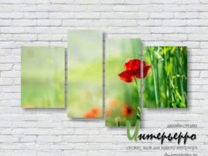 Модульная картина Алый цветок