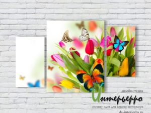 Модульная картина Бабочки на тюльпанах