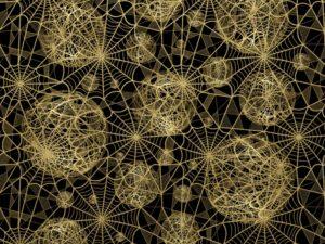 3D Фотообои Золотая паутина