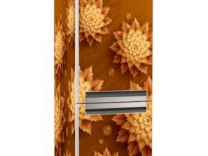 Наклейка на холодильник Золотые цветы