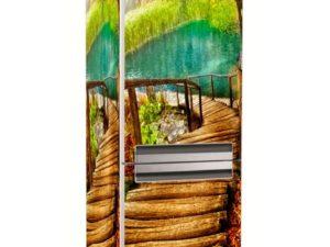 Наклейка на холодильник Деревянная лестница к озеру
