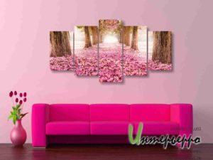 Модульная картина Аллея в розовых цветах
