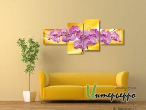 Модульная картина Ветка розовых орхидей