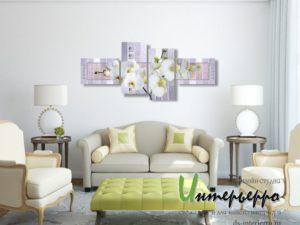 Белые орхидеи на абстрактном фоне