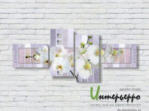 Модульная картина Белые орхидеи на абстрактном фоне