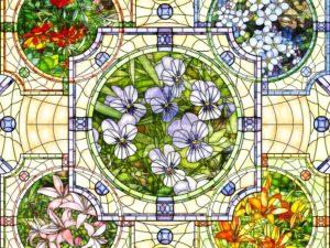 3D Фотообои Витраж с цветами