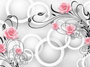 3D Фотообои Геометрическая композиция с цветами